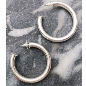 Upper Class Taste Hoop Earrings, Small Silver